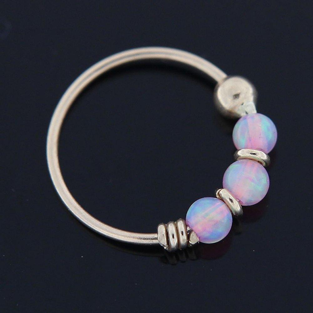 14K Yellow Gold Triple Opal Bead 22 Gauge Hoop Nose Ring Nose Piercing PiercingPoint PP-BD110RNK41-PP