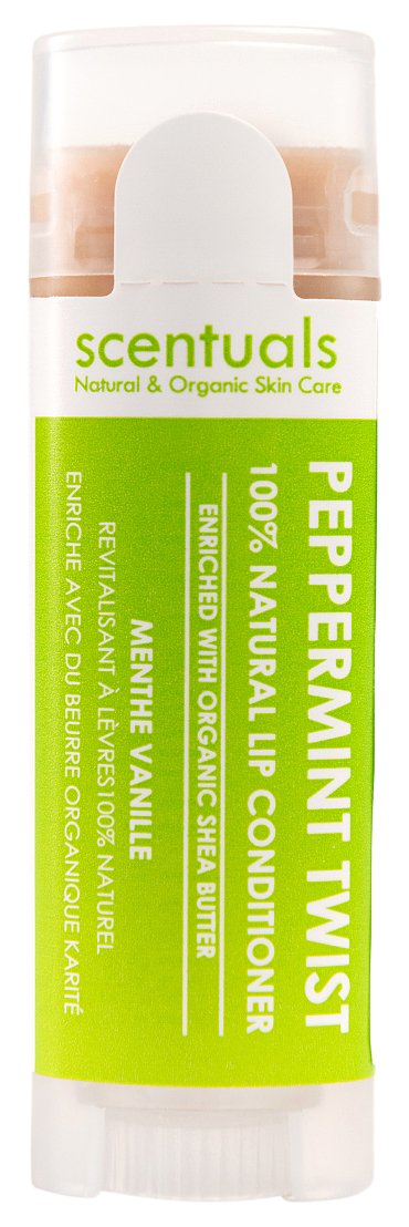 Scentuals 100% Natural Lip Conditioner, Peppermint Twist, 0.39 Ounce