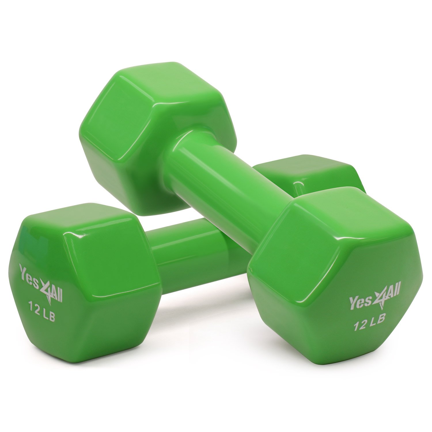 Yes4All Vinyl Coated Dumbbells - PVC Hand Weights for Total Body Workout (Set of 2, Emeral Green, 12 lbs)