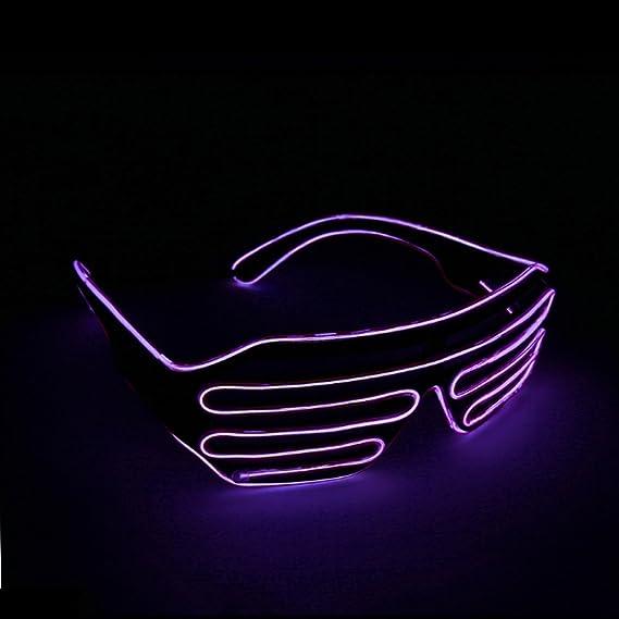1890c3e5766 Lerway Black Frame Neon El Wire LED Lighting Up Slotted Shutter Glasses  Eyeglasses Eyewear + Standard ...