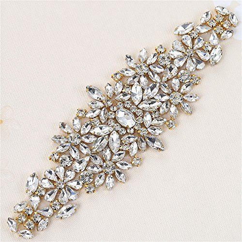 Sewn Stone (Bridal Rhinestone Sash Applique Wedding Crystal Belt Appliques Appliques Sewn or Hot Fix for Women Prom Gown Dress Accessories - Gold)