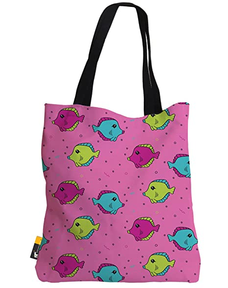 bdcf658e7a3f Amazon.com: Large 1980's Retro Tote Bag - Pink Tropical Fish ...