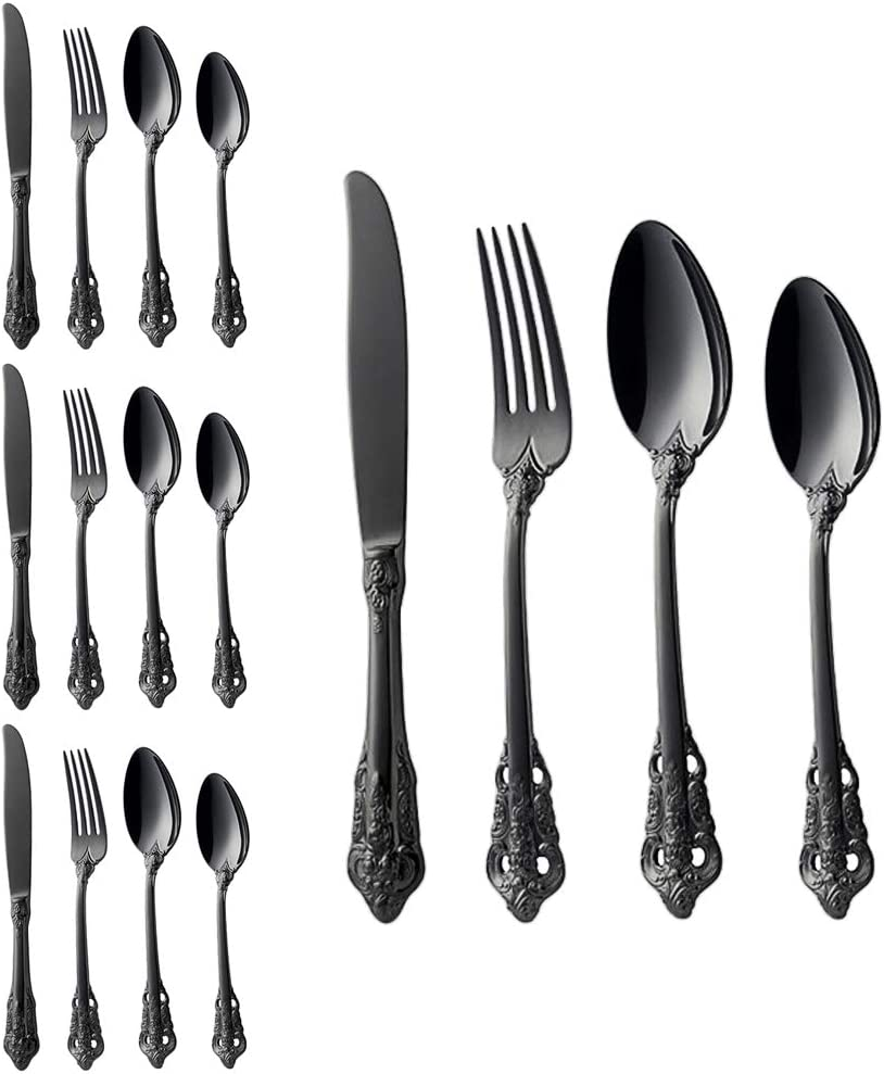 Food Grade 18/10 Stainless Steel Cutlery Set Baroque 16-piece with Knife Fork Spoon Coffee Spoon, Antique Royal Style, Dishwasher Safe