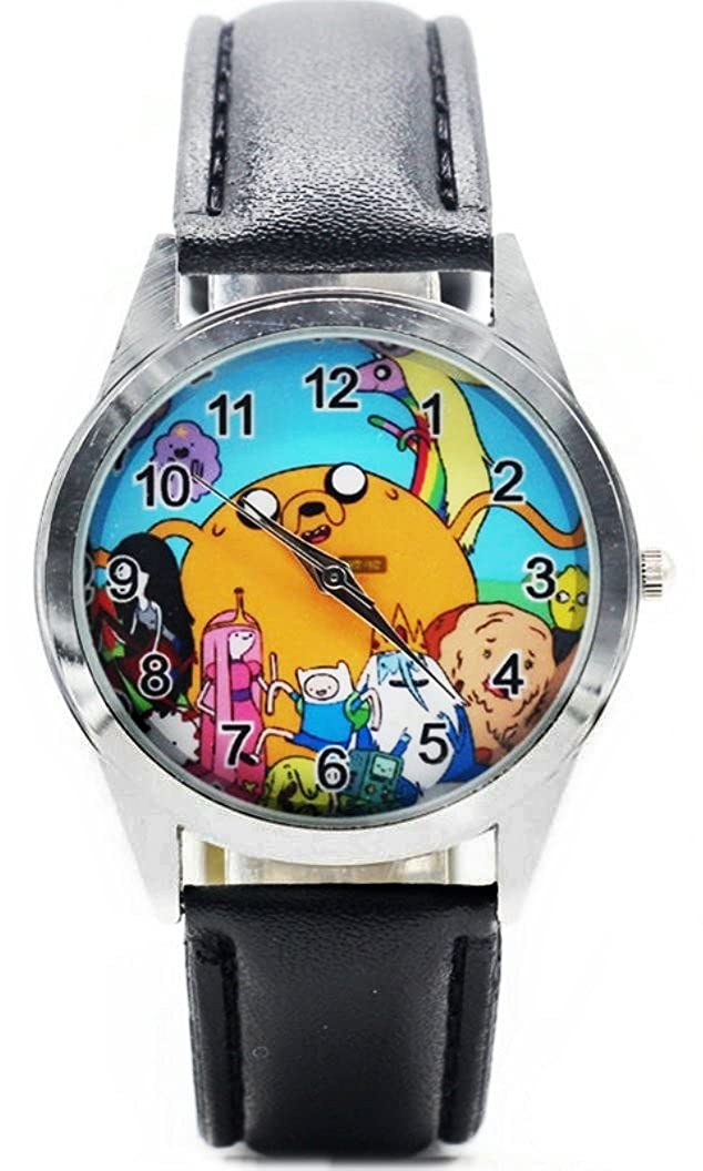 Adventure Time Characters Black Leather Band Wrist Watch