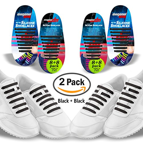 Diagonal One No Tie Shoelaces – 2 Pack. Slip On Tieless Elastic Silicone Shoe Laces for Youngsters, Adults & Seniors. Best for Sneakers and Casual Footwear – DiZiSports Store