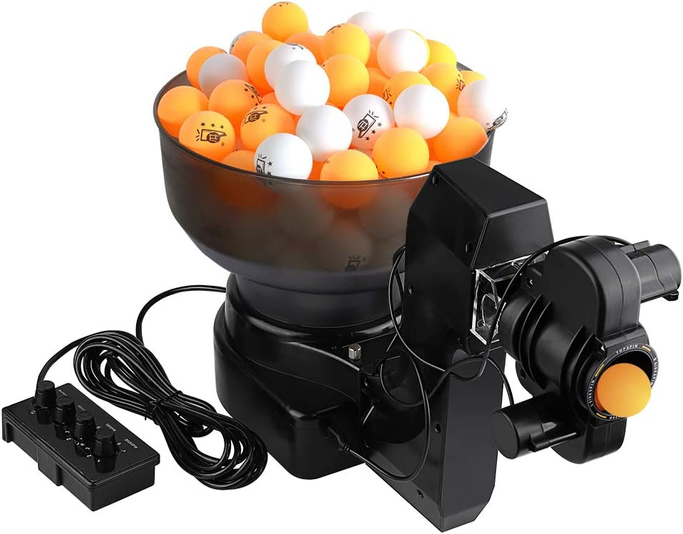 cilyberya Ping Pong Training Robot Máquina automática de Tenis de Mesa con 36 Bolas Diferentes para Entrenar, Servicio Individual Opcional