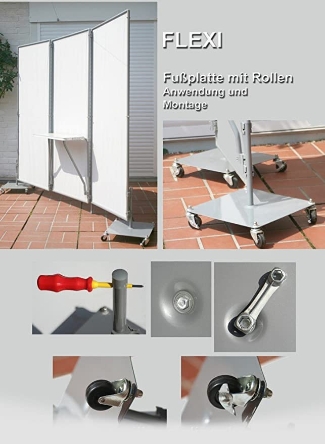 Pie con ruedas para biombo Flexi - para aún más Movilidad: Amazon.es: Jardín