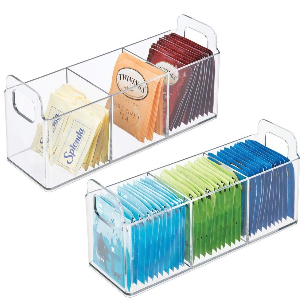 """mDesign Plastic Kitchen Pantry, Cabinet, Countertop Storage Organizer - Divided Tea Caddy - Holds Beverage Supplies, Tea Bags, Sugar, Sweeteners, Individual Packets - 9"""" x 3"""" x 4"""" - 2 Pack - Clear"""