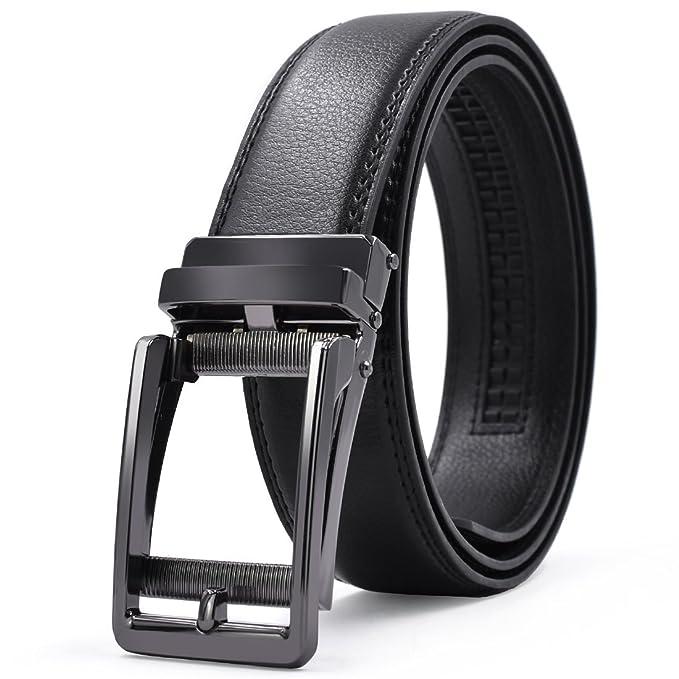 Cinturón Hombre Cuero Automática Trinquete Hebilla Cinturones de Piel Traje Para Jeans y Ropa Casual y Ropa de Trabajo Negro