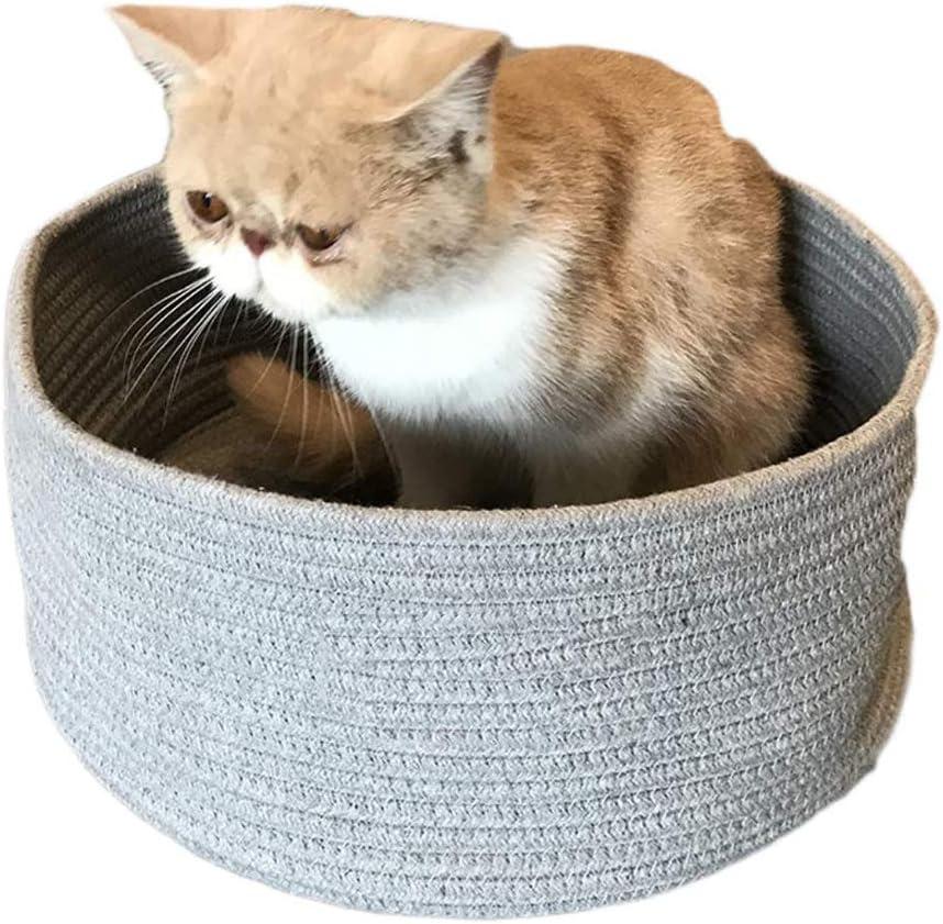 QNMM Camas para Mascotas Cuerda de algodón, Cama para Perros Cestas para Mascotas Gatos para Perros Juguetes Almacenaje Cueva Redonda para Gatos Cama para Mascotas,Gray: Amazon.es: Hogar