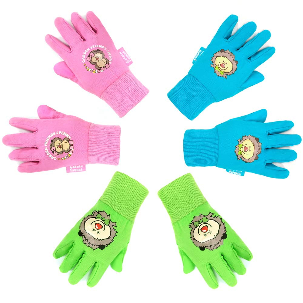 Hortem 3 Pairs Coloful Soft Kids Garden Gloves for 4-6 Years Old Children Size, Cute Hedgehog Pattern Gardening Gloves Gifts for Yard Work