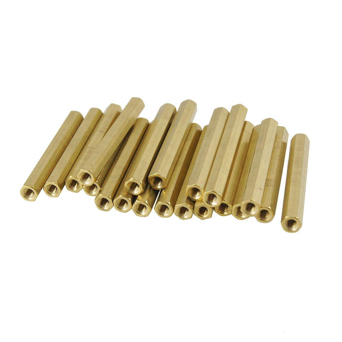 Sourcingmap 20 piezas de 3 mm de rosca hembra enfrentamiento pcb hexagonal longitud espaciador de 45 mm