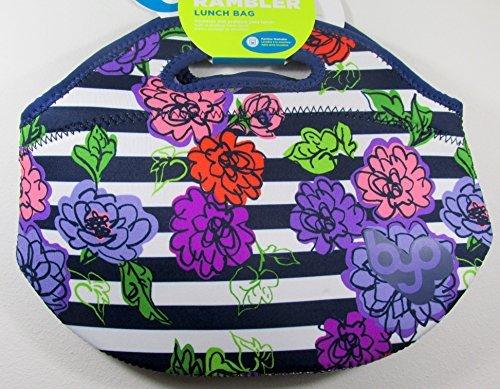 BYO Rambler Neoprene Lunch Bag Floral Blue Stripes Flowers