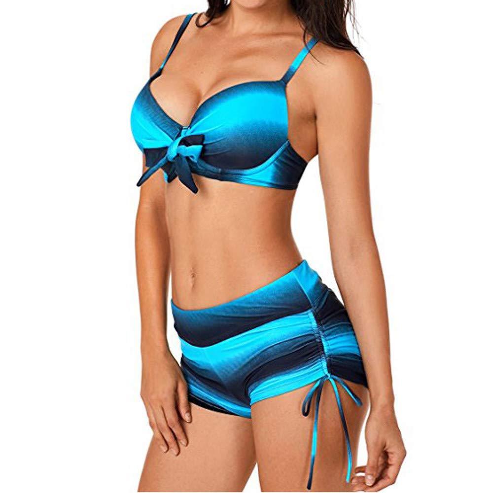 Lonshell Damen Bauchweg Streifen Tankinis Badeanz/üge mit Slip Hotpants Zweiteilig Bademode Figurformend Monokini Schwimmanzug Badebekleidung Strand UV-Shirt