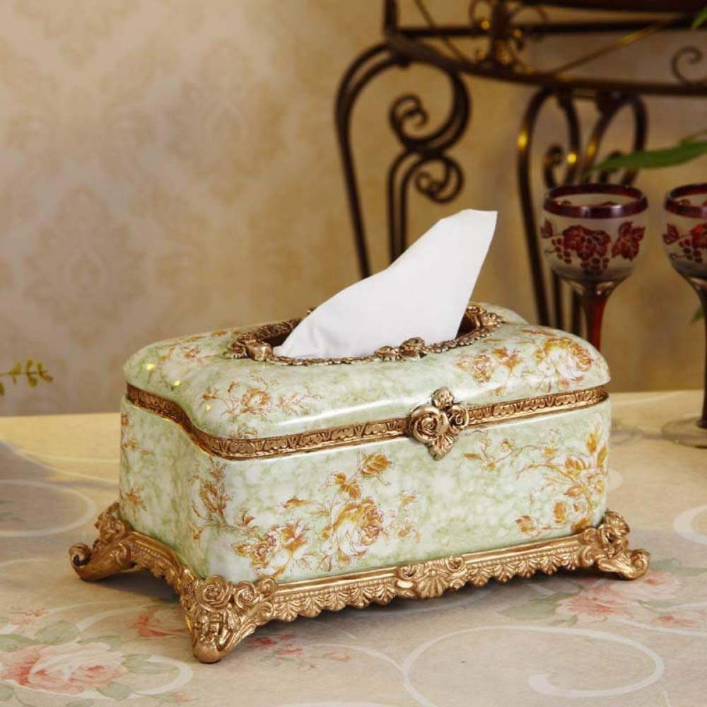 SHUCHANGLE Tissue Box Box Box Holz Tissue Box Holder Tissue Cover Box Vintage Landhausstil Harz Rechteckform Anzahl Muster Tissue Holder Für Home Office Car, B B07NSJRJWW Toilettenpapieraufbewahrung db5256