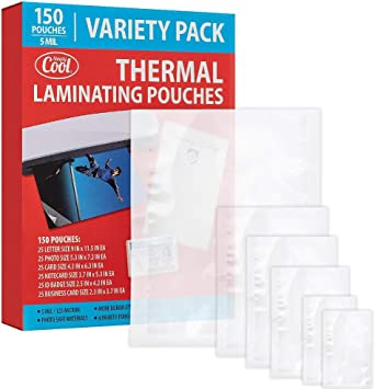 5MIL Thermal Laminating Pouches (150 Count)   Letter, Photo, Card, Notecard, ID Badge and Business Card Sizes   Dry-Erase Friendly Sheets, Compatible with Laminators   Crystal Clear Laminated Finish
