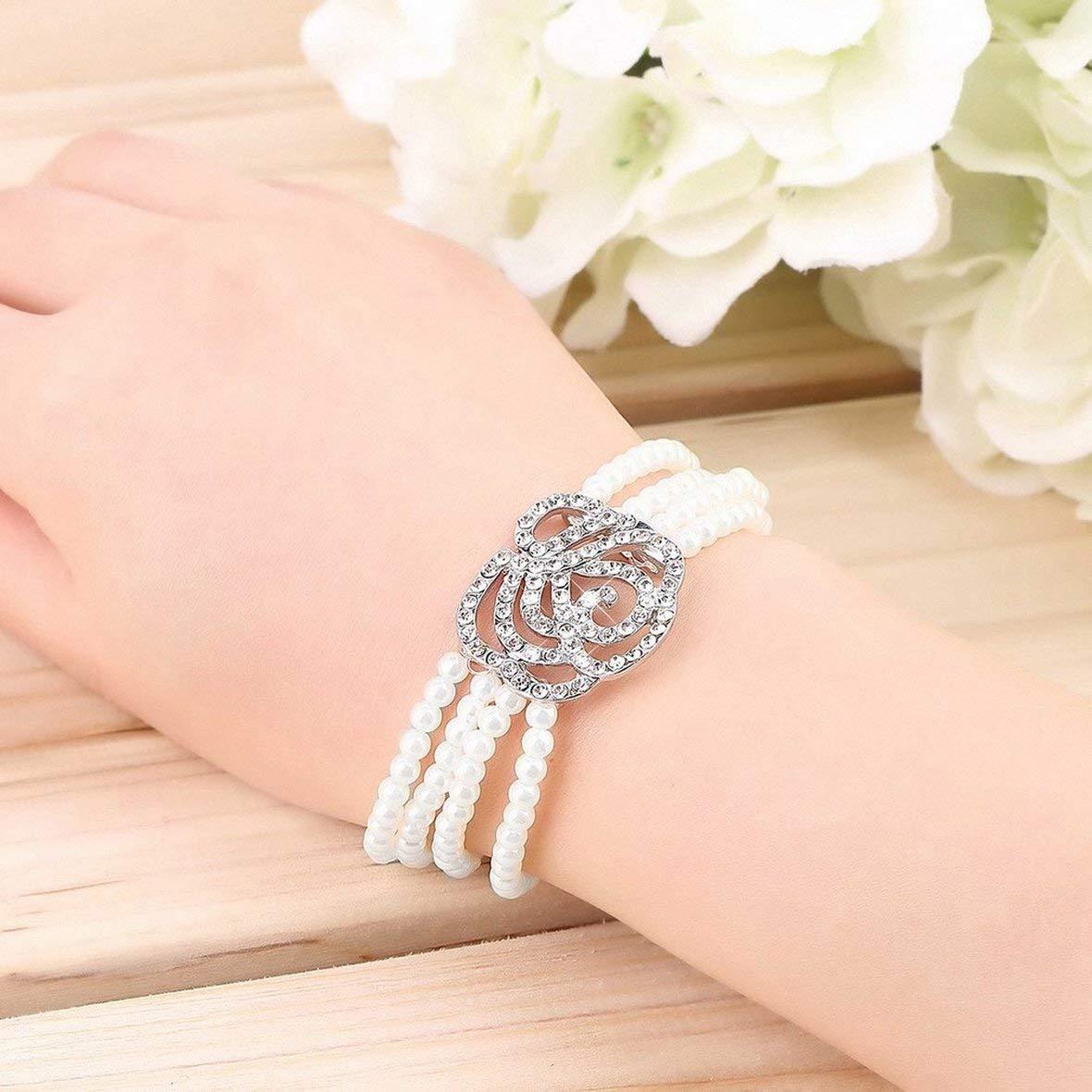 Tivolii Fashionable Elegant Popular Womens Elegant 4 Layer Crystal Rose Flower Simulated Pearl Bangle Strand Bracelet Accessories Stylish