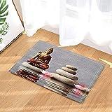 Spa Stone Decor Buddha is sitting in Zen Garden with Flower Bath Rugs Non-Slip Doormat Floor Entryways Indoor Front Door Mat Kids Bath Mat 15.7x23.6in Bathroom Accessories