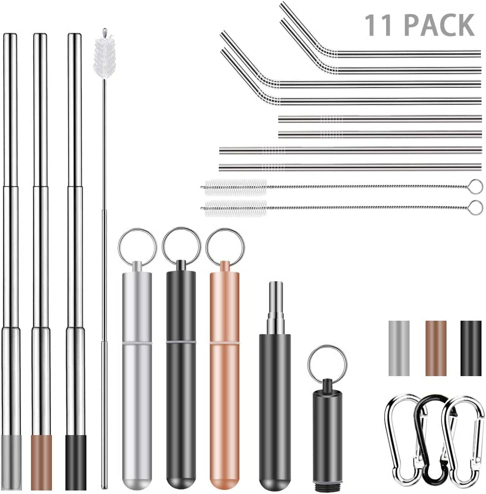11 Packs Collapsible Reusable Drinking Straws Set, 3 Telescopic Stainless Steel Metal Straw with Case, 8 Dishwasher Safe Long Straws for 30oz 20oz Tumbler Cups, Include Cleaning Brushes & Pouch