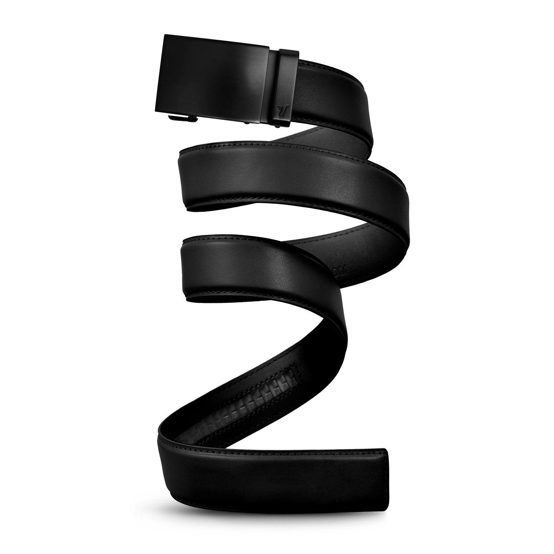 Mission Belt Men's Ratchet Belt - Unobtainium - Swat Black Buckle/Black Leather Strap, Extra Large (39-42)