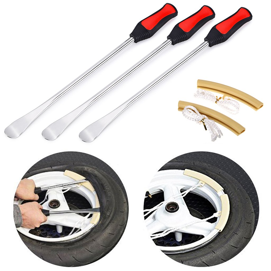 Sumnacon Large Tire Levers Spoon Set 14.5 Inch, Solid Heavy Duty Motorcycle Bike Car Tire Irons Tool Kit,3 Pcs Tire Changing Spoon + 2 Pcs Rim Protector