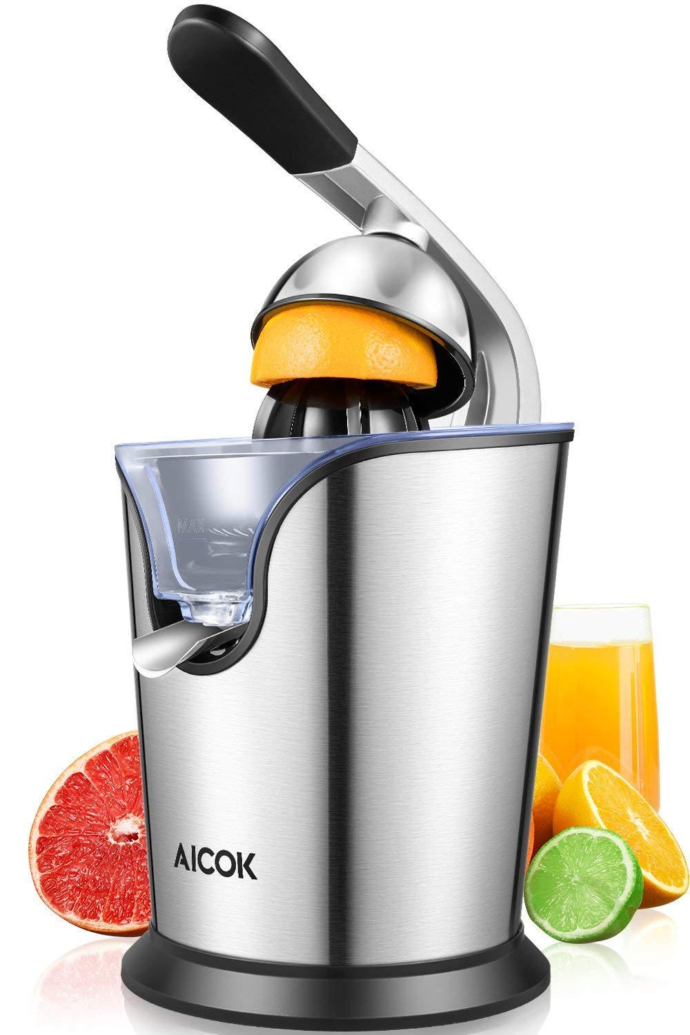 Aicok Electric Citrus Orange Juicer 160W Stainless Steel, Double Reamers, Soft Grip Handle, Easy to Use and Clean, Anti-Drip Spout (Renewed) by AICOK