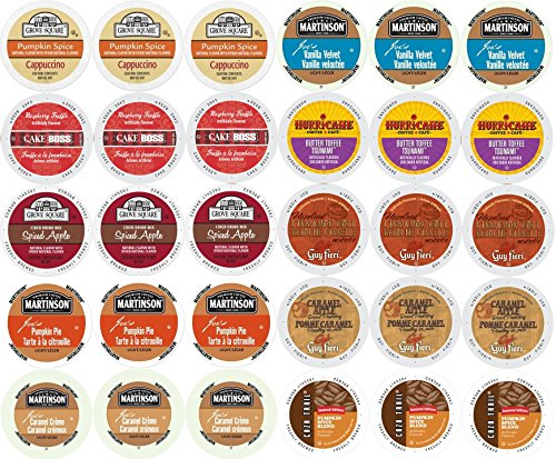 Caramel Cinnamon Rolls (30-count - Limited Edition Fall Flavors Coffee Variety Pack for Keurig® K-cup® Brewers - Featuring Pumpkin Pie, Butter Toffee or Buttercream, Cinnamon Roll, French Vanilla, Caramel Apple Bread Pudding, Caramel Vanilla Cream, Vanilla Buttercream, Raspberry Truffle, Pumpkin Spice Cappuccino and Spiced Apple Cider)