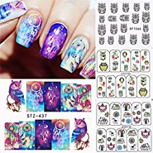 BORN PRETTY 4 Sheets Colorful Owl Water Decal Dream Catcher Elephant Nail Art Transfer Sticker