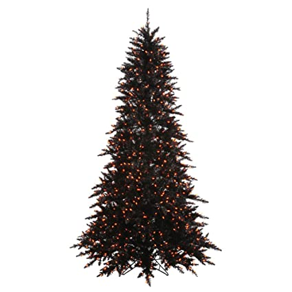 vickerman black fir with orange lights christmas tree - Black Artificial Christmas Tree