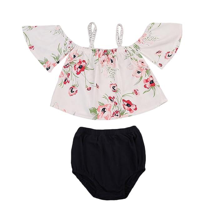 ff860bdd904bd KIDSA 0-24M Baby Toddler Girl Summer Outfits Off Shoulder Floral Tank Tops  + Black Short Pants Vintage Clothing Set