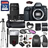 Canon EOS 6D Mark II DSLR Camera with Canon EF 50mm f/1.8 STM Lens & Canon EF 75-300mm f/4-5.6 III Lens, TTL Flash, Tripod, Mono-Pod, Battery Grip + Professional Accessory Bundle
