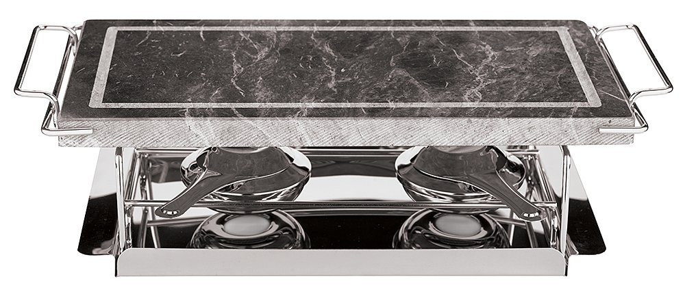 Paderno World Cuisine 41315-04 Dual Burner Stone Grill Set, 17-Inch, Silver by Paderno World Cuisine