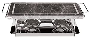Paderno World Cuisine 41315-04 Dual Burner Stone Grill Set, 17-Inch Silver