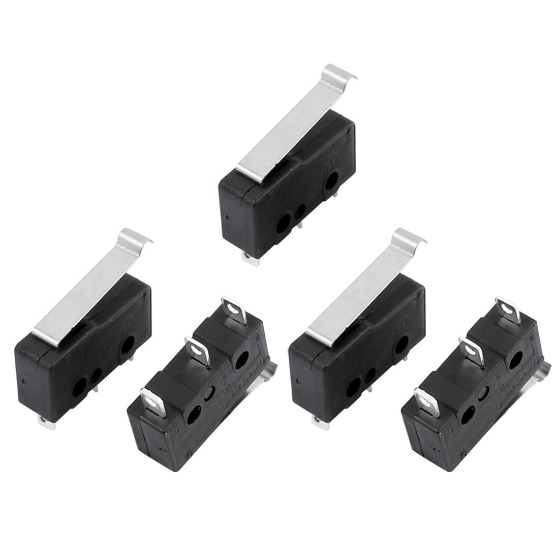 uxcell 5Pcs AC250/125V 3A Micro Limit Switch SPDT 3 Terminals Momentary 19mm Lever Arm Black KW12-5