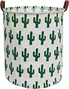 Sanjiaofen Canvas Fabric Storage Bins,Collapsible Laundry Baskets,Waterproof Storage Baskets with Leather Handle,Home Decor,Toy Organizer (Green Cactus)