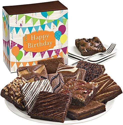 Fairytale Brownies Birthday Dozen Gourmet Food Gift Basket Chocolate Box - 3 Inch Square Full-Size Brownies - 12 Pieces