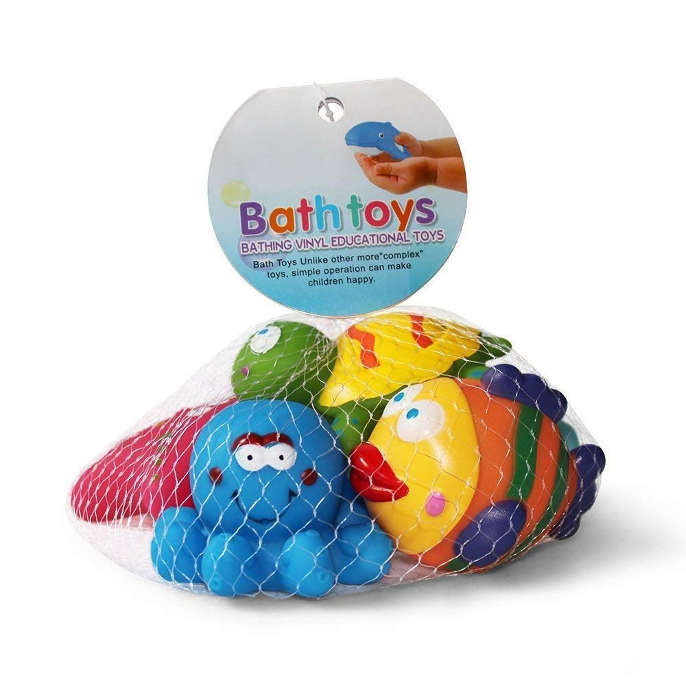 LHKJ 6 pezzi Giocattoli da bagno per Bambini,Giocattoli da Bagno Galleggianti Pesciolini Cavallucci Marini ecc Stelle Marine