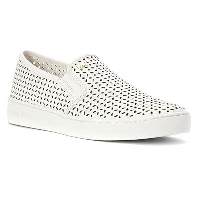 Michael Kors Olivia Slip On Sneaker Optic White Vachetta Leather Nappa Leather Sport