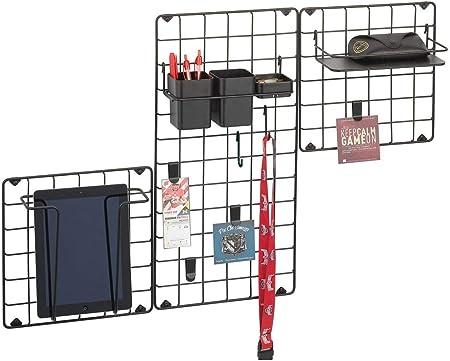 mDesign Juego de 3 organizadores de pared en metal – Panel decorativo para colgar fotos, prendas de ropa o accesorios de cocina – Organizador multiusos para pasillo, cocina u oficina – negro mate