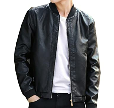 44905f68c9494 GRMO Mens Vintage Zipper Bomber Plus Size Motorcycle PU Leather Jacket Black  US XS