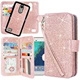 Cheap LG Aristo Case, LG Fortune Case, LG Phoenix 3 Case, Linkertech Detachable 2 in 1 Glitter Shiny PU Leather Flip Wallet Case with 12 Card Slots and Wrist Strap for LG K8 2017 / LV3 (Glitter Rose Gold)