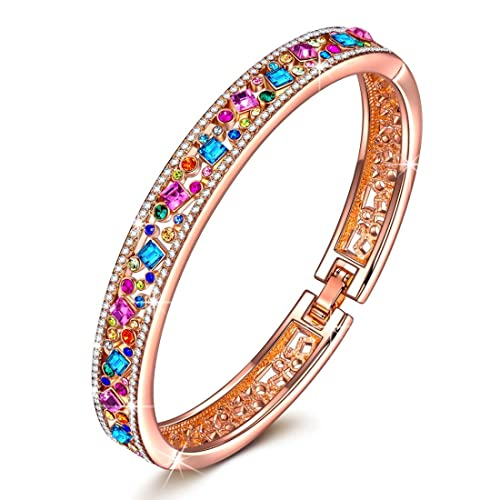J.NINA Jewelry with Party Queen -Deluxe Packaging- Rose Gold Plated Bangle with Multicolor Crystals from Swarovski, Fashion Bracelets Jewelry Best Gifts for Her