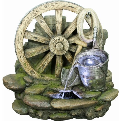 Yosemite Home Decor CW09058 Wagon Wheel Fountain with LED Accent Lighting