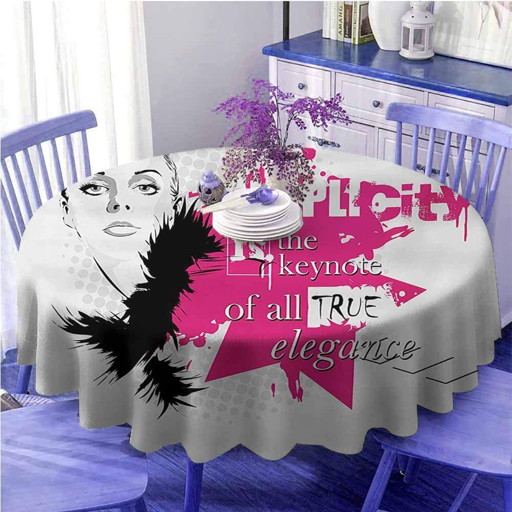 "UETECH Flamingo Table Cloth Girls Lady Face with Makeup Simple Design Inspirational Vogue Fashion Theme Art Black Pink Pale Grey Diameter 70"""