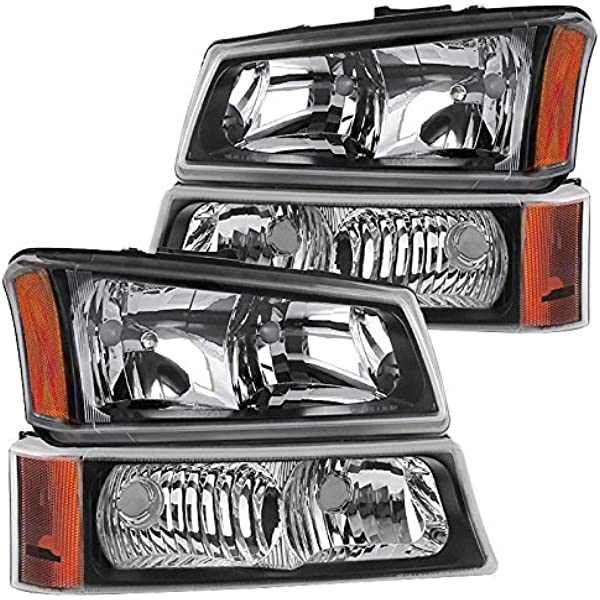 AJP Distributors Headlights Head Lights Lamps Assembly Pair For Chevy Silverado 1500 2500 3500 Avalanche 2003 2004 2005 2006 2007 03 04 05 06 07