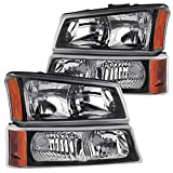 2003 avalanche headlight assembly - RXMOTOR HL-CH912030BA 2003-2006 Chevy Silverado 1500 2500 3500 Headlight Replacement And Bumper Signal Lamps Assembly