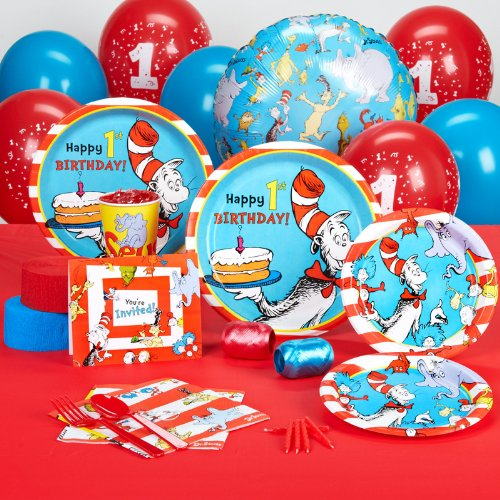 Dr Seuss 1st Birthday Party Supplies - Standard Party Pack for 16 (Cat In The Hat Thing 1)