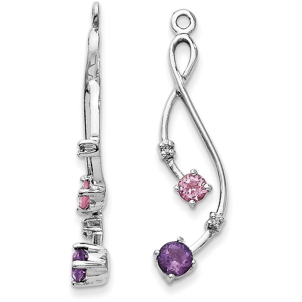 14k Gold Diamond, Amethyst and Pink Tourmaline Drop Jackets for Stud Earrings - (White-Gold)