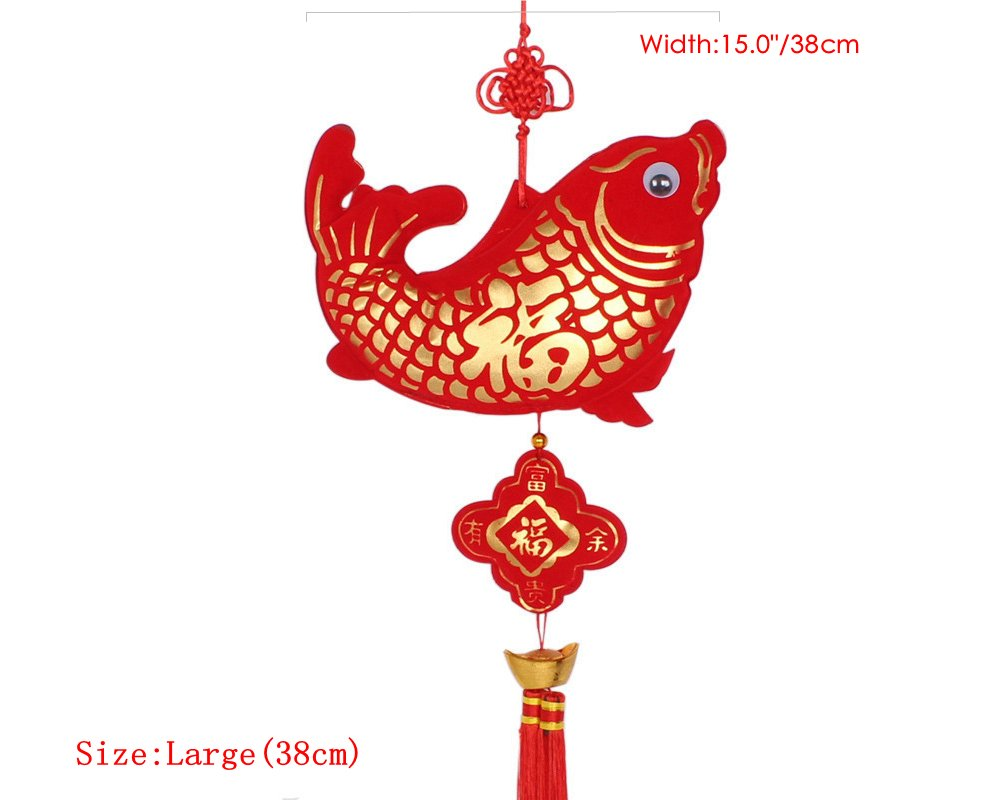 Pure Handmade Chinese knot Tassel for Home Decoration or Office Decoration (Fish knot 38cm)