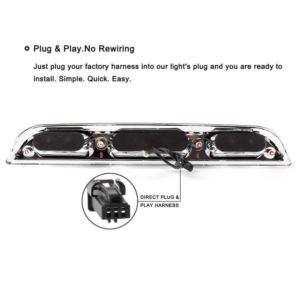 ROADFAR Third Brake Light LED 3rd Brake Light Rear Tail Brake Light Cargo Lamp Red Lens Chrome Housing Replacement fit for 2015-2017 Ford F-150